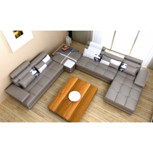 5005 - Contemporary Grey Leather Sectional Sofa
