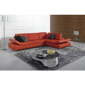Modern Red Bonded Leather Sectional Sofa