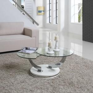 Lulu Rotating Coffee Table, White High Gloss Base