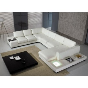 T 35 White/Chocolate Leather Sectional