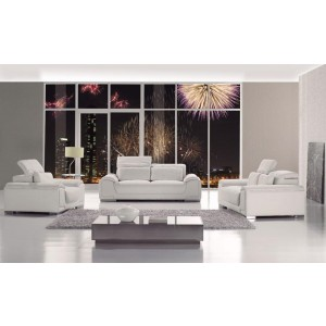T93 - White Bonded Leather Sofa Set