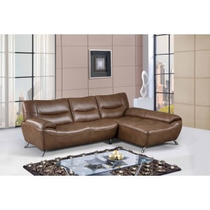 7532 Mini Modern Leather Sectional By Global USA