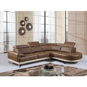 7730 Modern Leather Sectional By Global USA