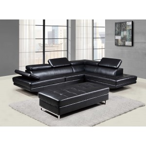 8138 Modern Leather Sectional By Global USA