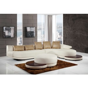 208 Modern Leather Sectional By Global USA