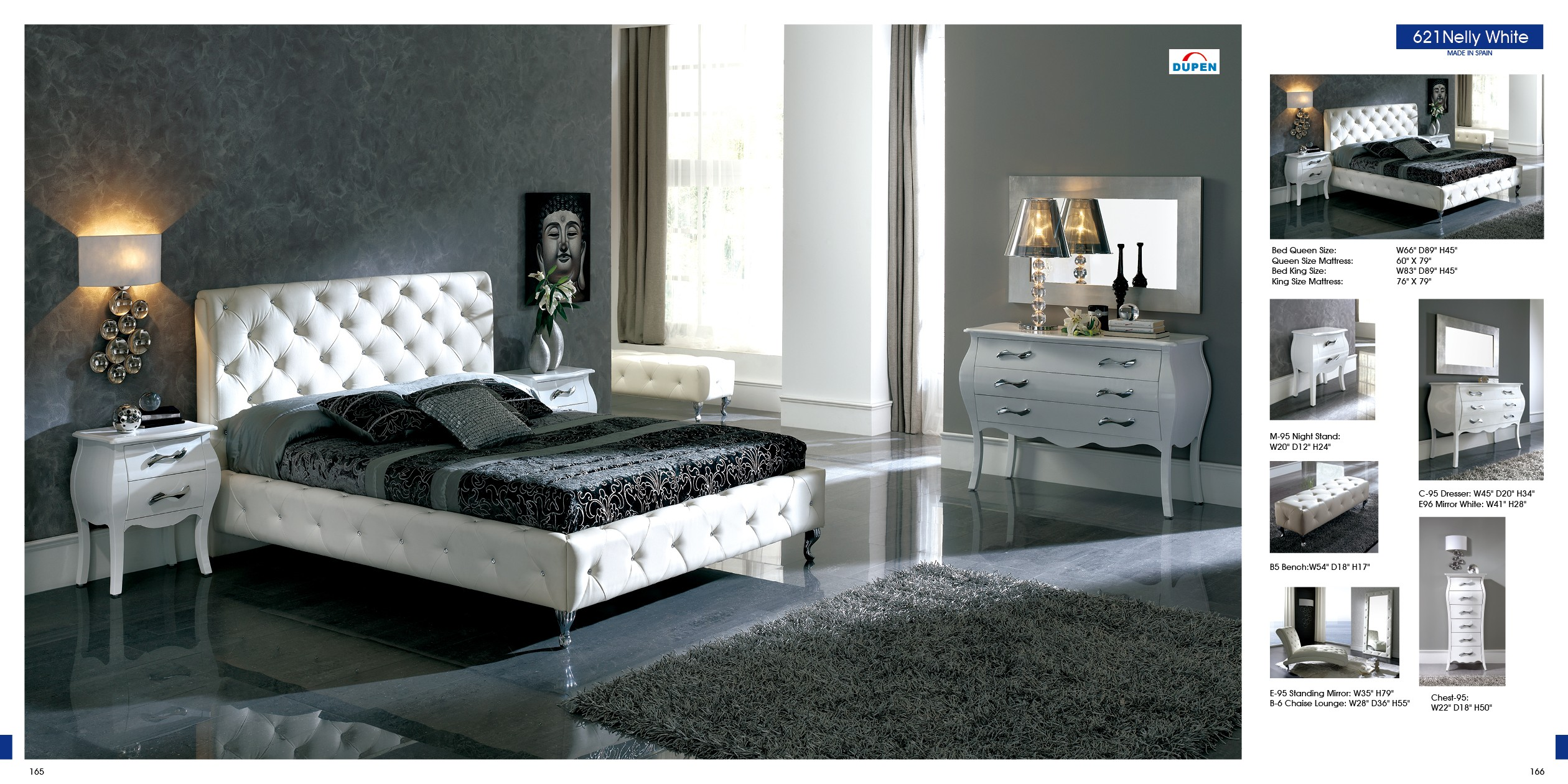 621 nelly by dupen white black made in spain modern for New furniture bedroom