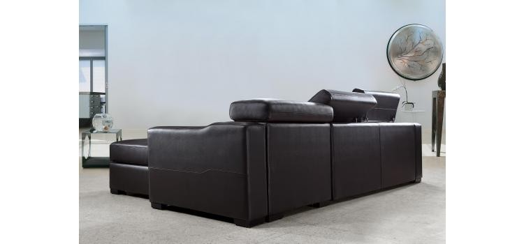 Flip Reversible Leather Sectional Sofa Bed With Storage