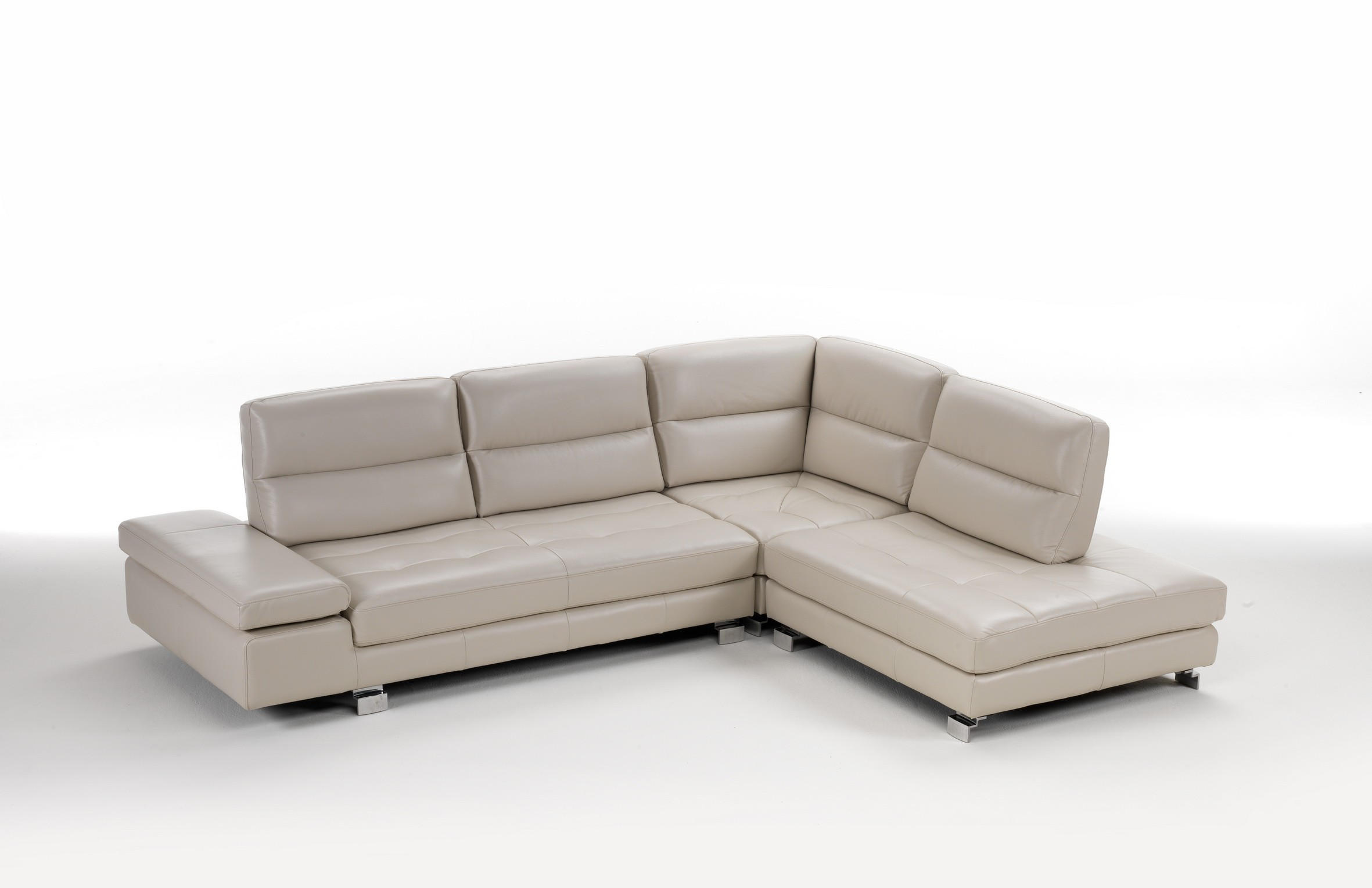 Gemma Premium Leather Sectional With Sliding Backs By Idp