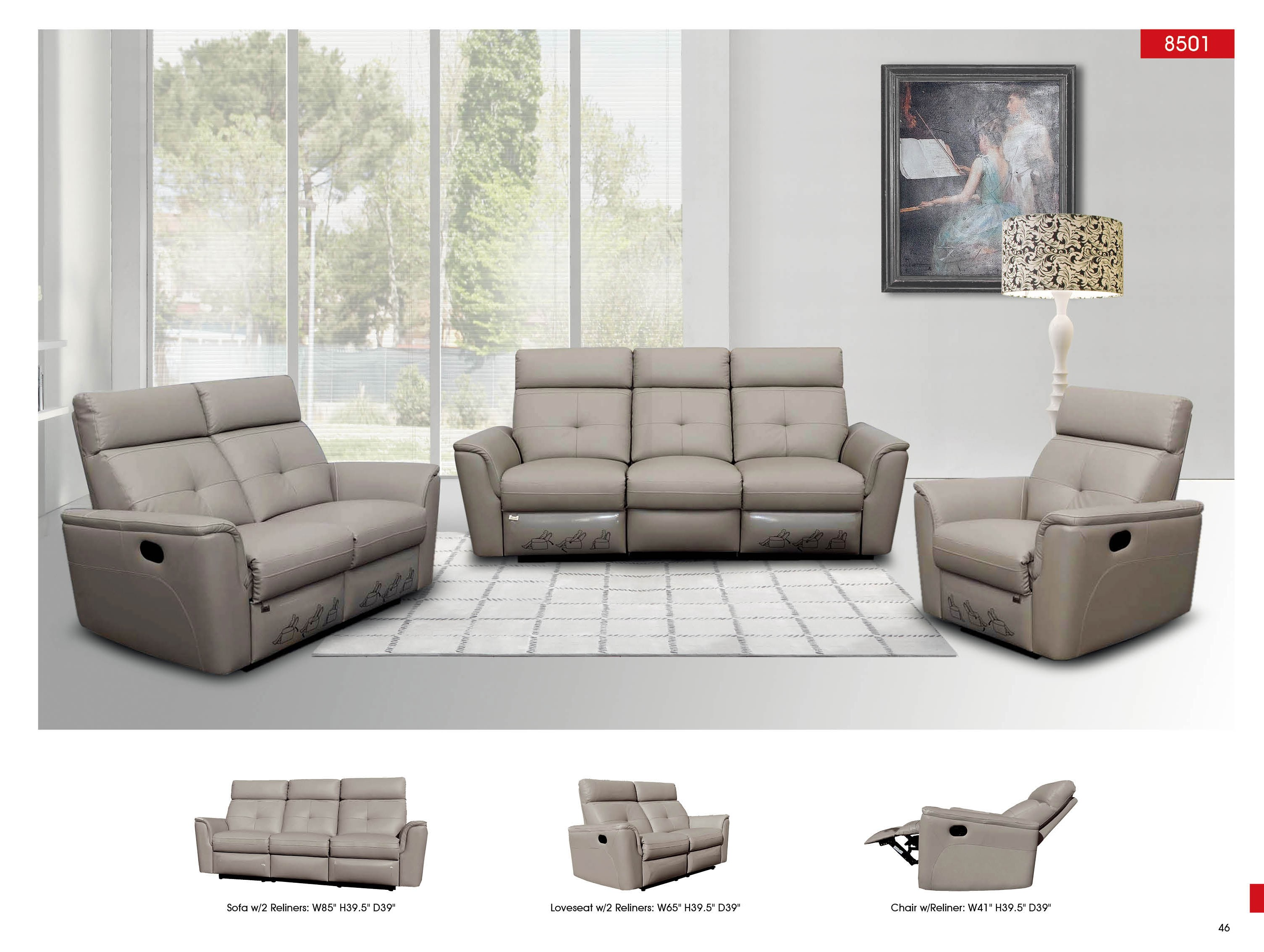 8501 contemporary contemporary reclining leather sofa nova for Modern living room sets