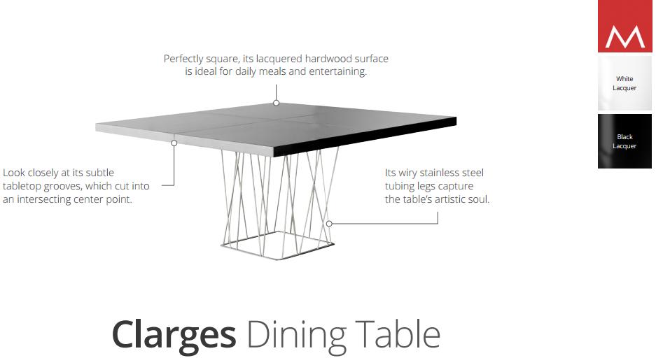 Clarges Modern Dining Table By Modloft Nova Interiors