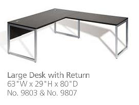 9000 series desk and return dimensions