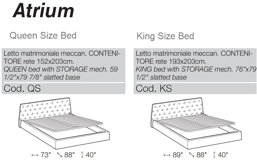 atrium bed dimensions