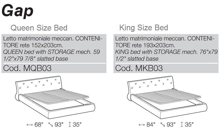 gap bed dimensions