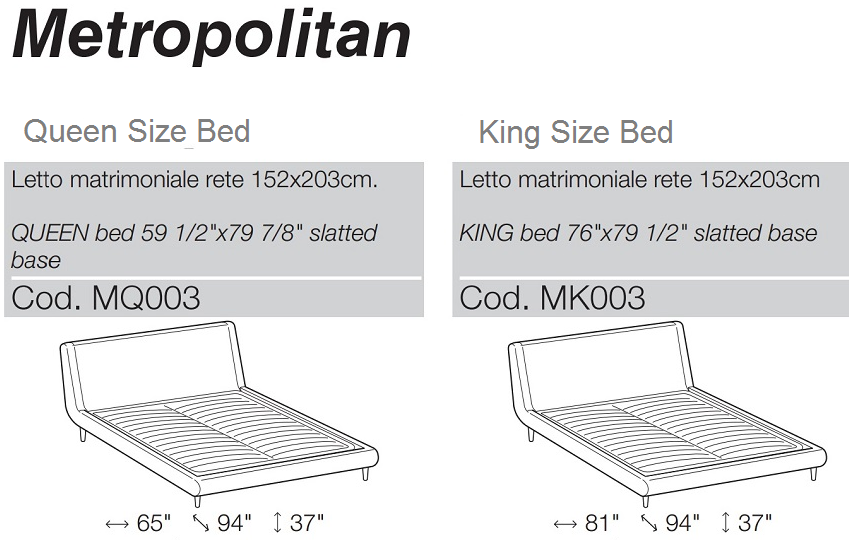 metropolitan bed made in italy