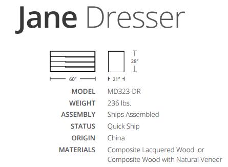 jane dresser dimensions