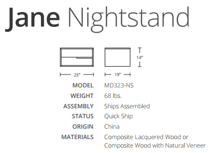 jane nightstand dimensions