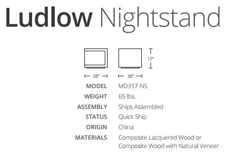 ludlow nightstand dimensions