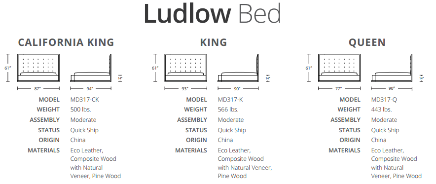 Ludlow bed sizes