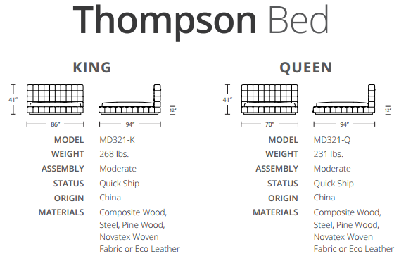thompson bed size