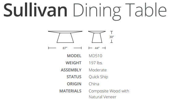Sullivan dining table dimensions
