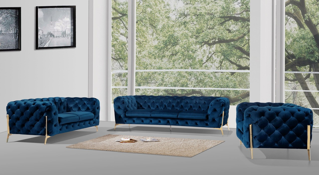Chester Sofa Set in  Blue