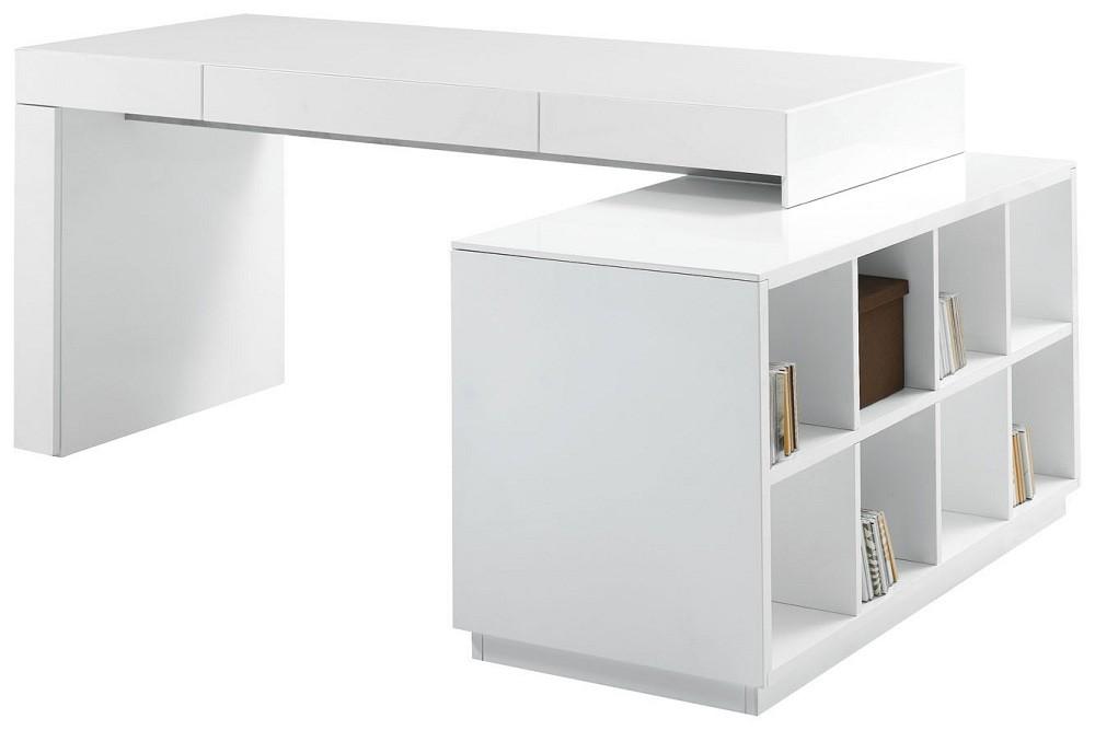 S005 Modern Office Desk White High Gloss