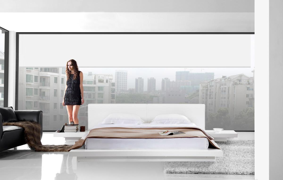 Opal White Gloss Platform Bed