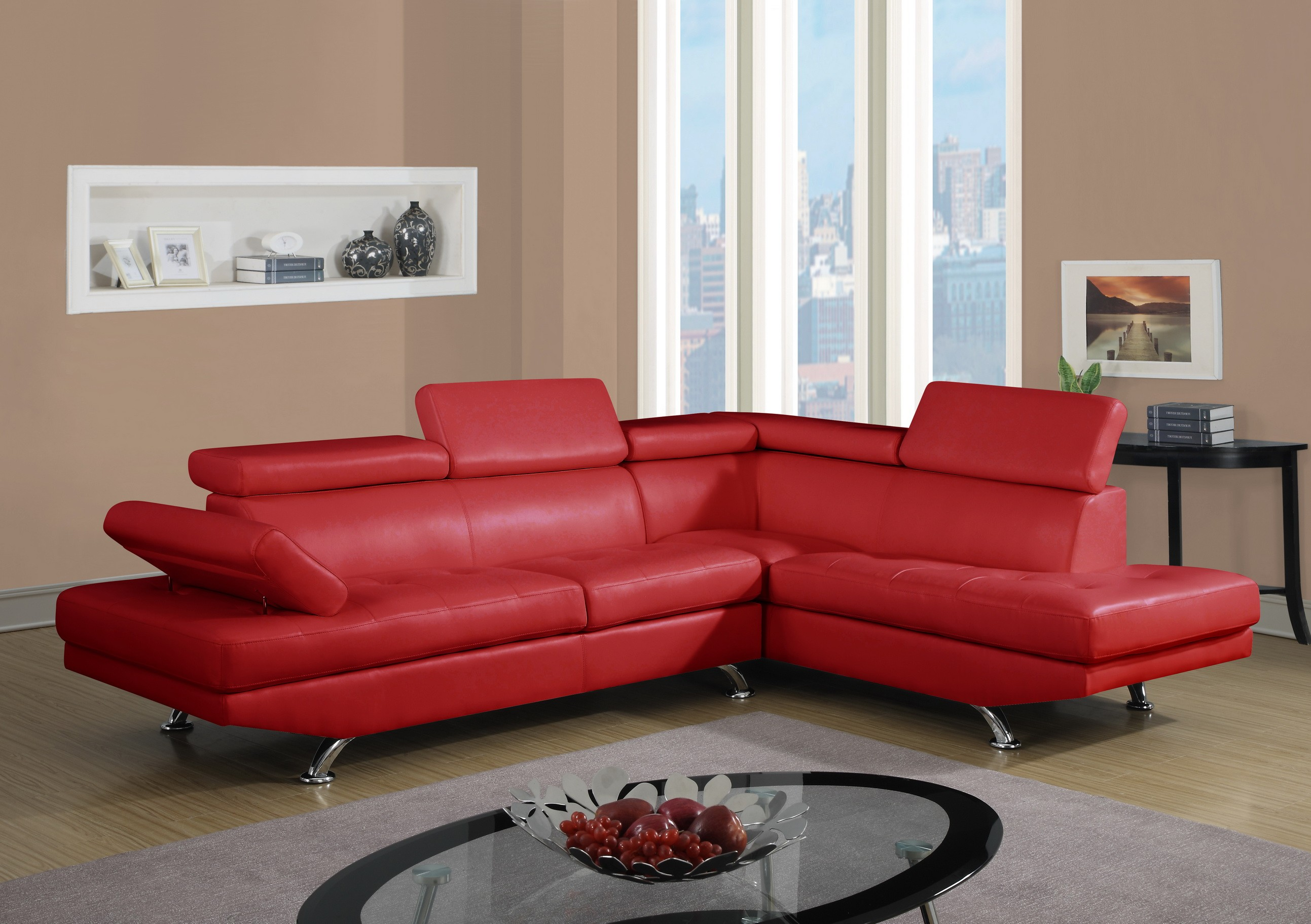 9782 Contemporary Leather Sectional by Global USA from NOVA