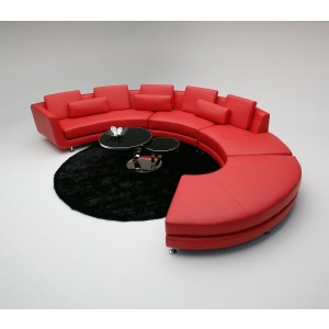 A94 Contemporary ALL Leather Sectional Sofa & Ottoman
