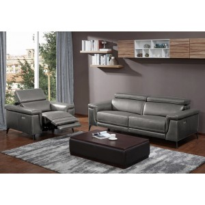 Hendrix Sofa Set in  Gray  Leather
