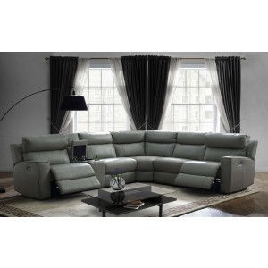 Logan 5 Piece Sectional Sofa with Power Recliners