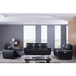 S557 Sofa Set in Black Leather