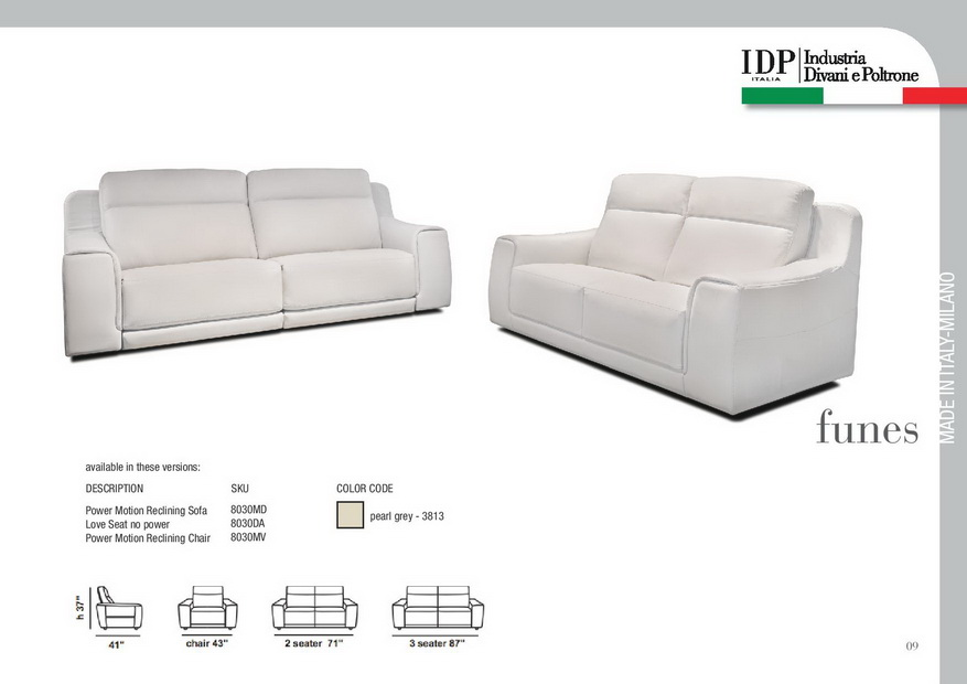 Funes Premium Leather Power Reclining Sofa By Idp Italia Nova Interiors